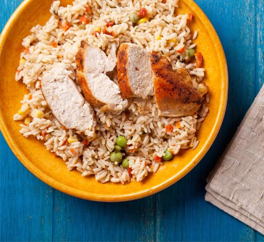 Пуешки гърди с ориз Krina и зеленчуци