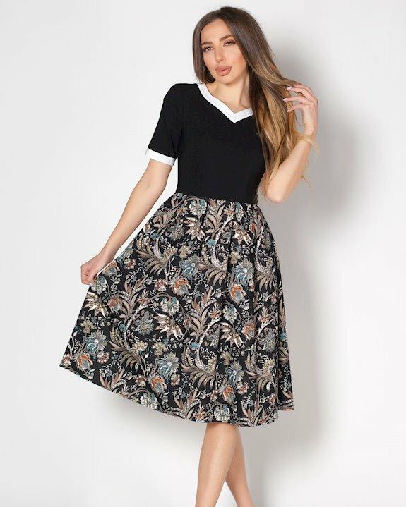 Дамска рокля в комбинация от 2 материи.