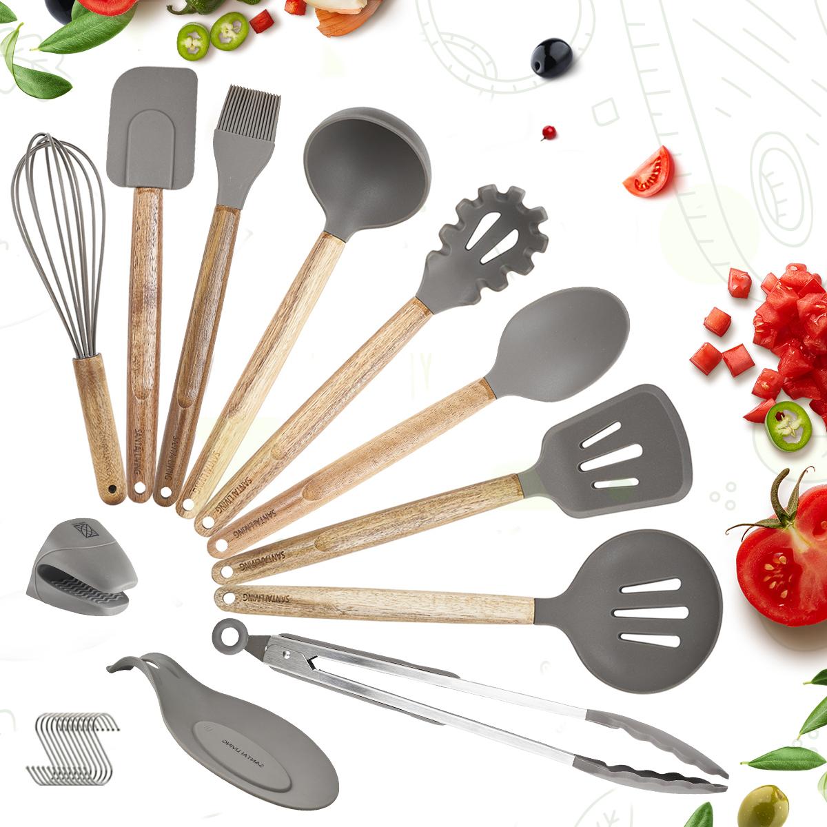 Набор кухонных принадлежностей из дерева и силикона / кухонная утварь (11 предметов)
