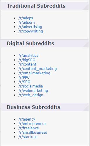 Subreddits