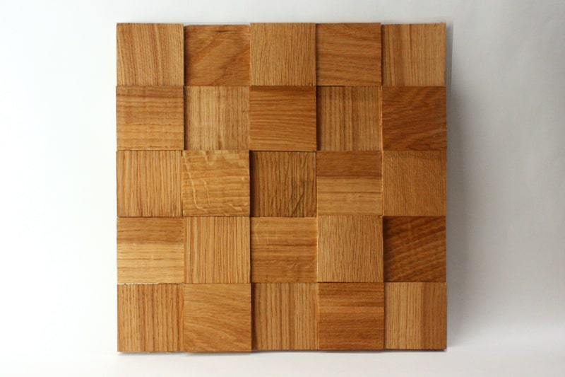 Деревянная 3D мозаика шлифованная из дуба цвет вишня