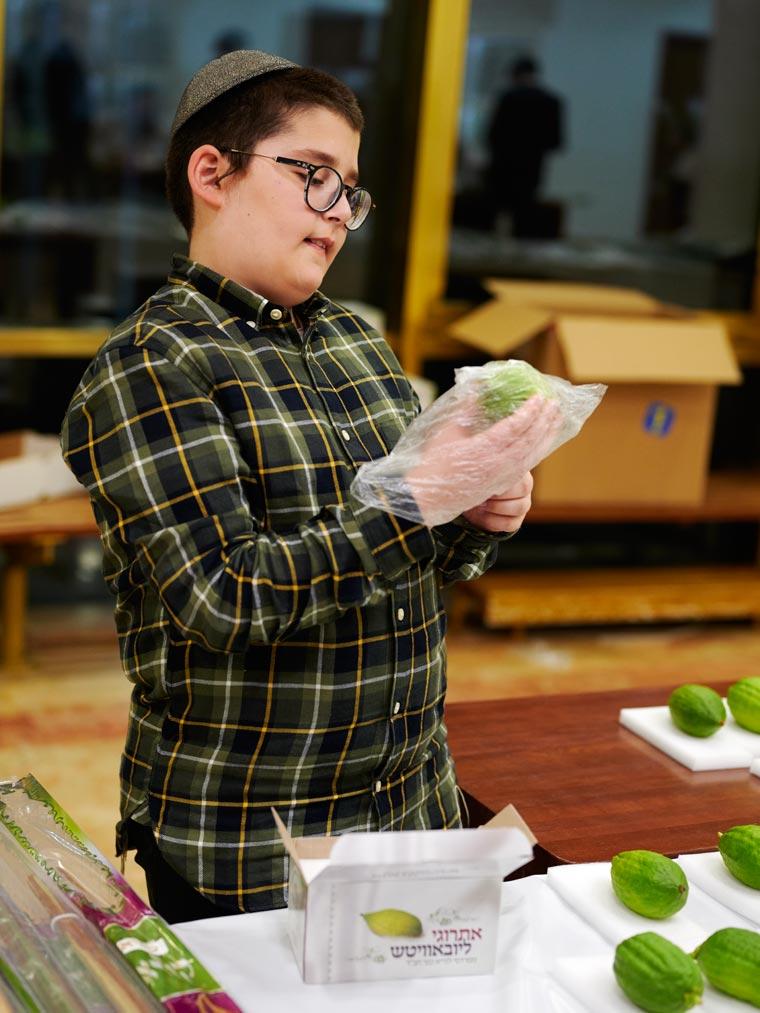 Еврейский мальчик упаковывает этрог. Фото Koldunova + Klyosov