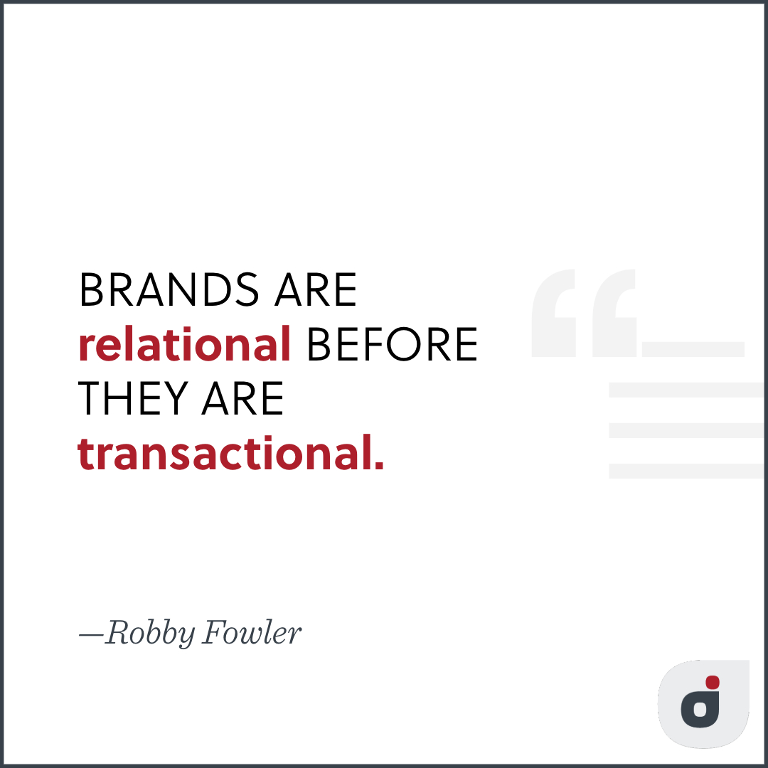 branding strategy quote card stating branding is relational before it is transactional
