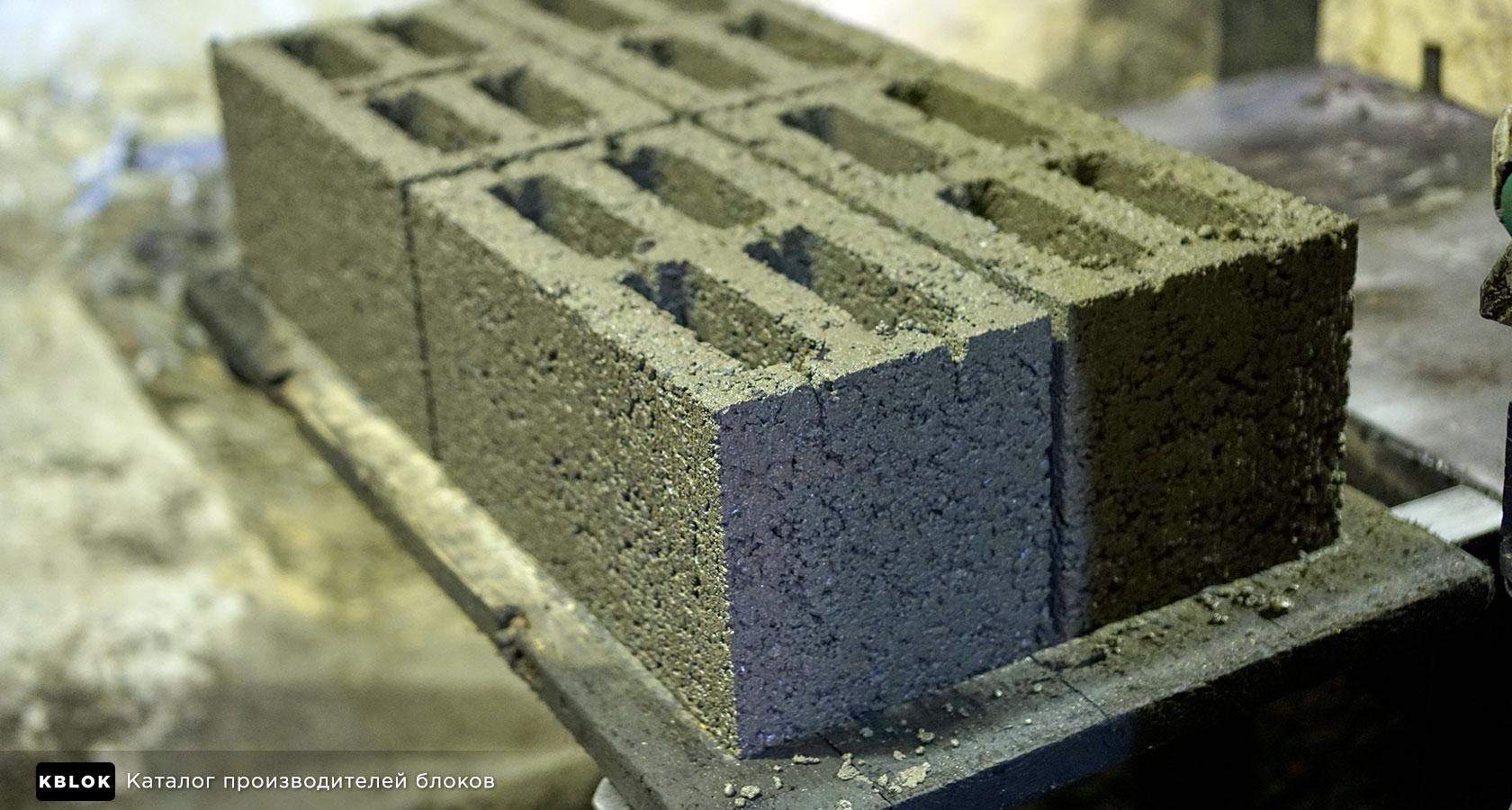 керамзитобетонные блоки после формовки