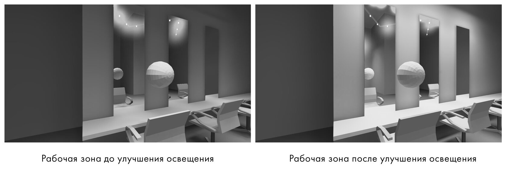 Освещение в парикмахерской зоне. Оценка качества освещения в зеркале