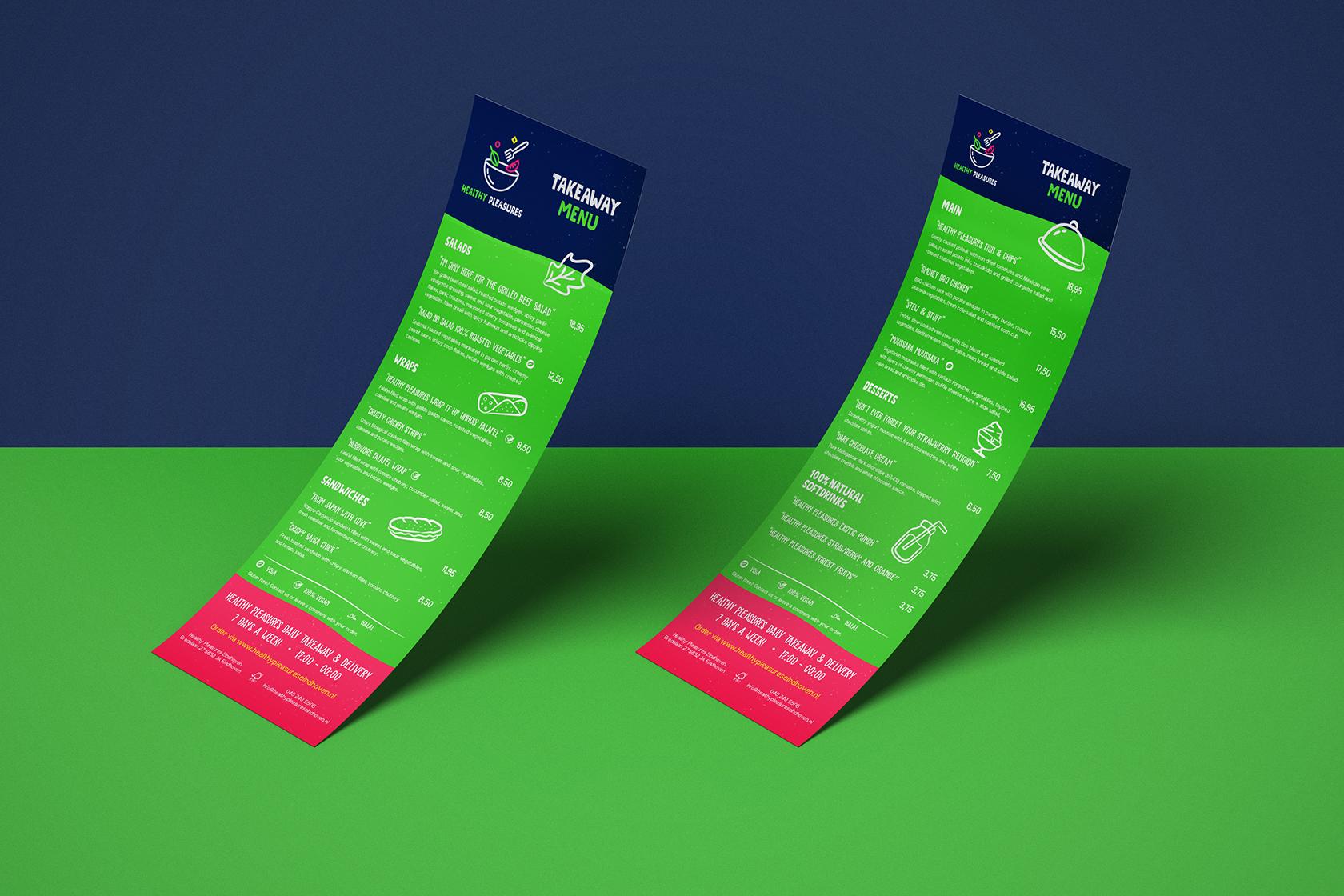 Menukaart ontwerp voor Healthy Pleasures dagkaart