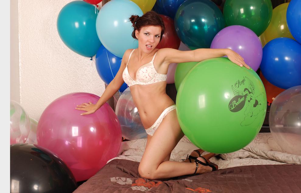 Ann (looner girl) high heel popping green balloon