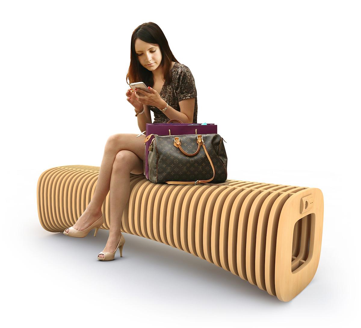 дизайн скамейки с точкой зарядки для торгового центра озерки