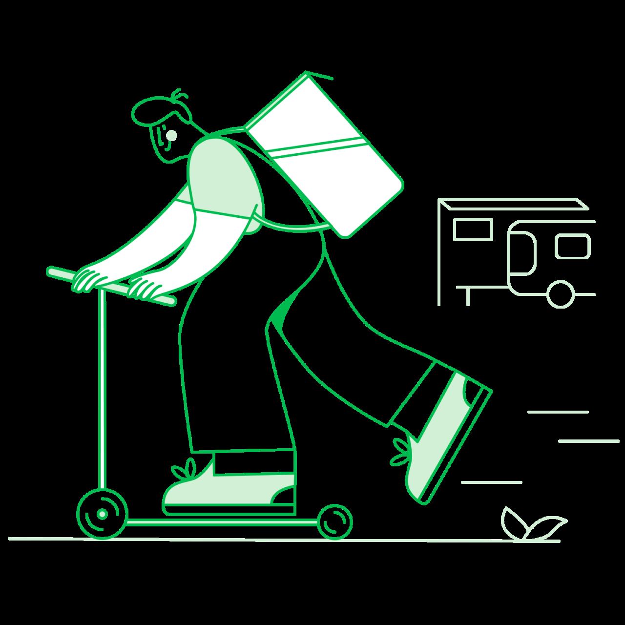 Обложка набора иллюстраций Ordery на тему доставки еды, курьерской доставки