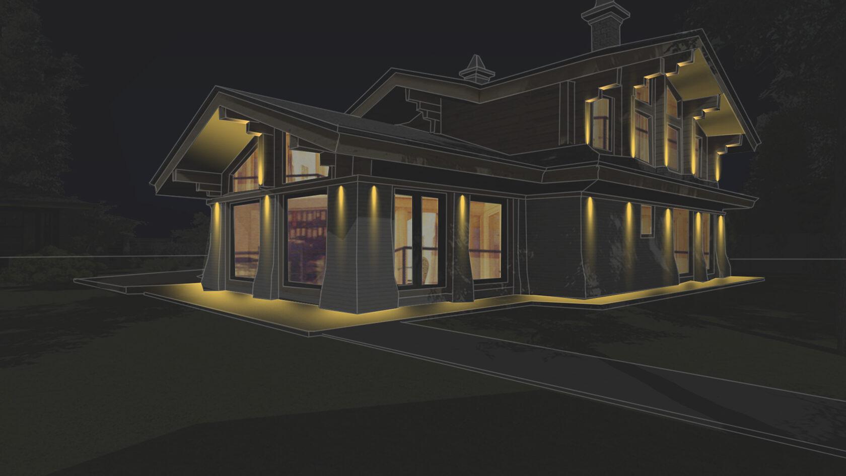 Свет от прожекторов на фасаде