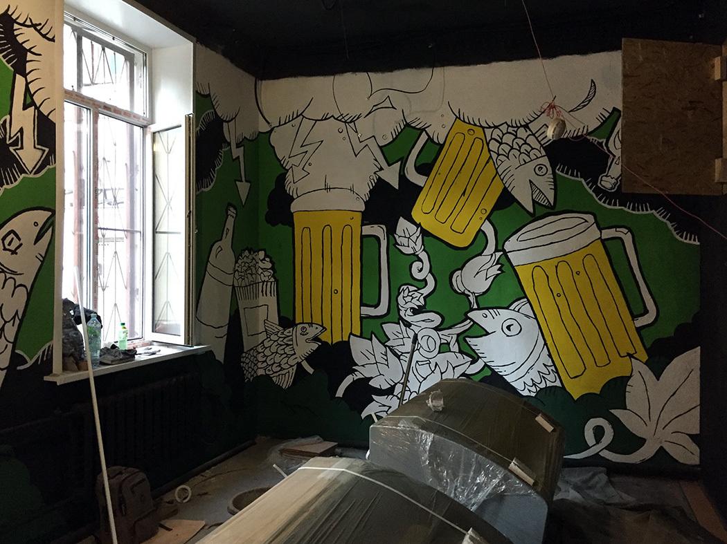 Смешные рисунки на стенах в пивбарах