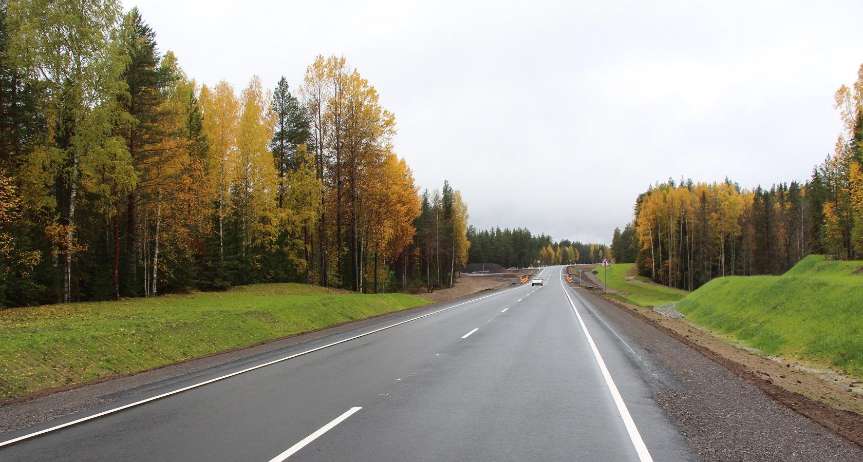 Карельская часть трассы А-119 приходится на участок 393 – 636 км и пролегает от границы с Вологодской областью до пересечения с автодорогой Р-21 «Кола» (фото: Росавтодор)