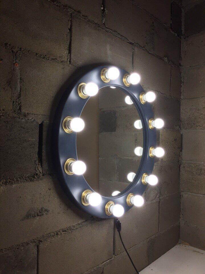 Круглое гримерное зеркало (позолоченные кольца) рама МДФ темно-синяя выключатель на проводе провод 2 метра