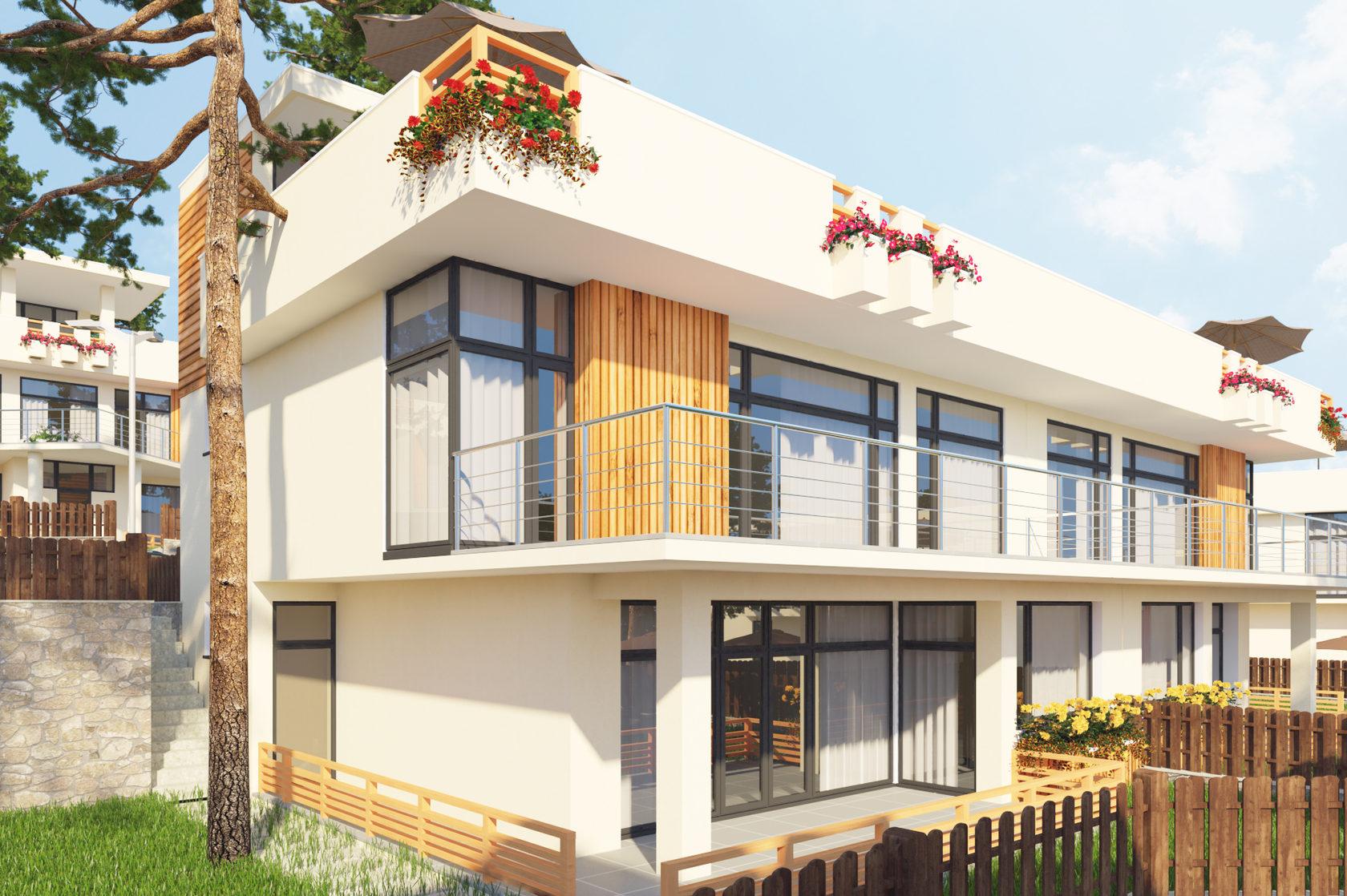 Duplex объединяет два зеркальных дома для одной или нескольких семей