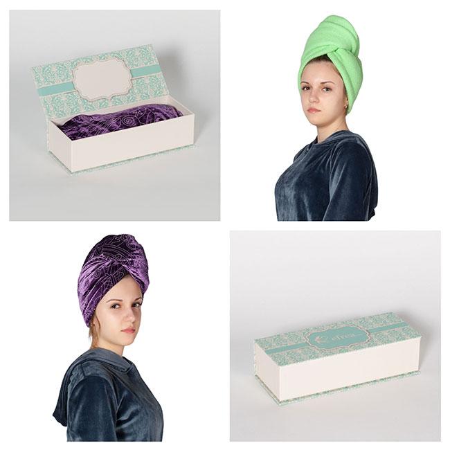 Кърпа за коса в различни цветове. Можете да я закупите и в комплект с луксозна кутия за подарък за жена. Виж всички кърпи за коса тип тюрбан и поръчай онлайн.
