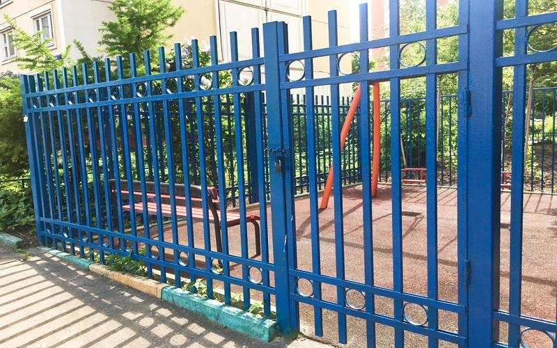 Сварной забор цвет голубой
