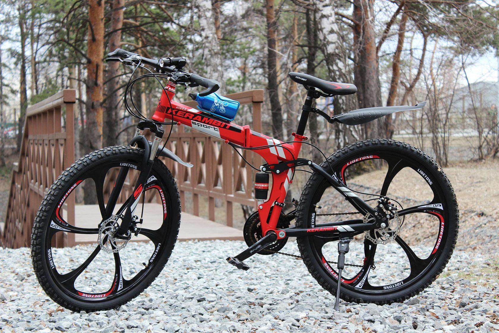 Велосипед красный со складной рамой
