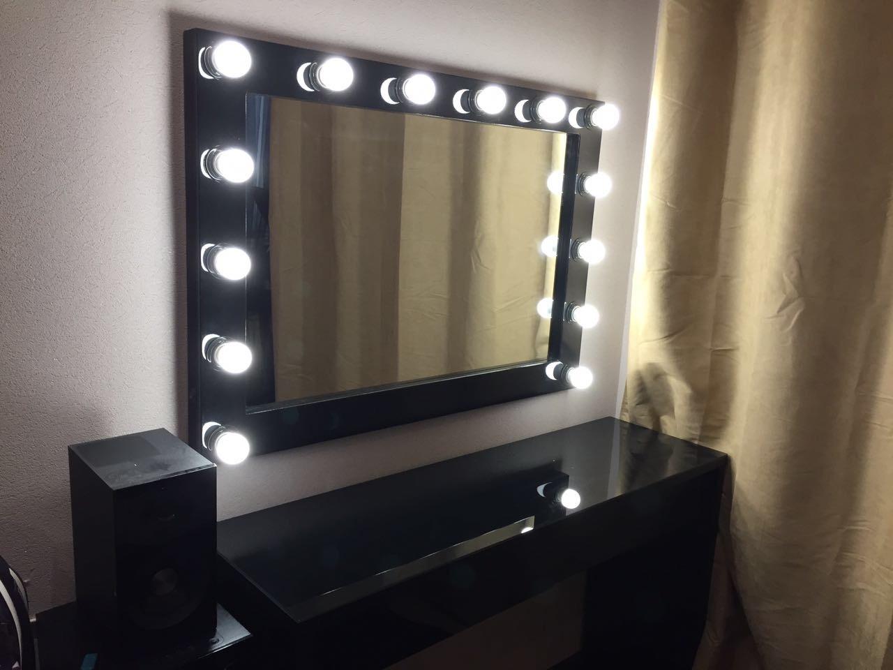 Гримерное зеркало рама мдф черный глянец выключатель справа провод 2 метра