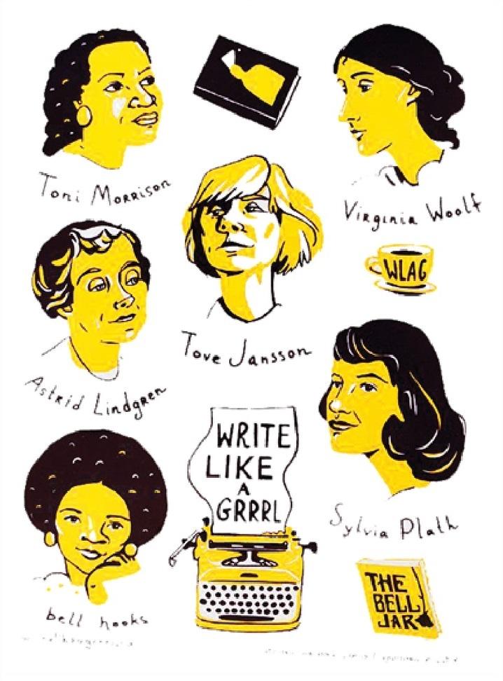 Купить Стикерпак списательницами «Write like a grrrl»