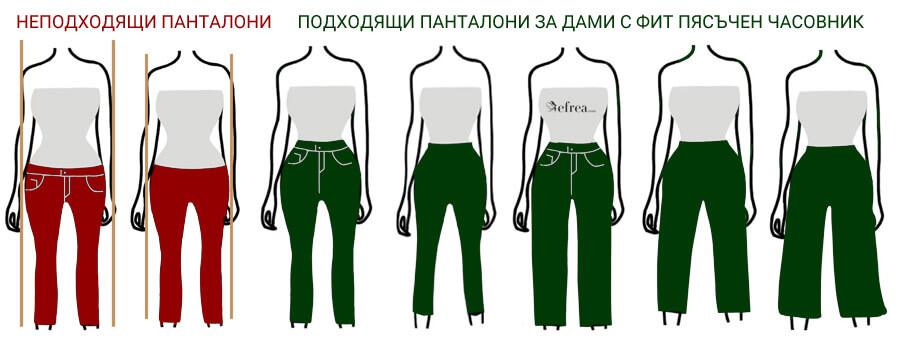 Дамски панталони за фигура тип пясъчен часовник с ясно изразена талия. Виж класически и елегантни дамски панталони от Efrea