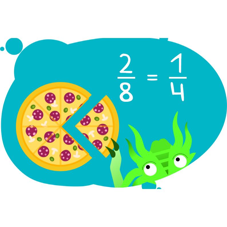 Дракоша показывает на пицце как сравнивать дроби