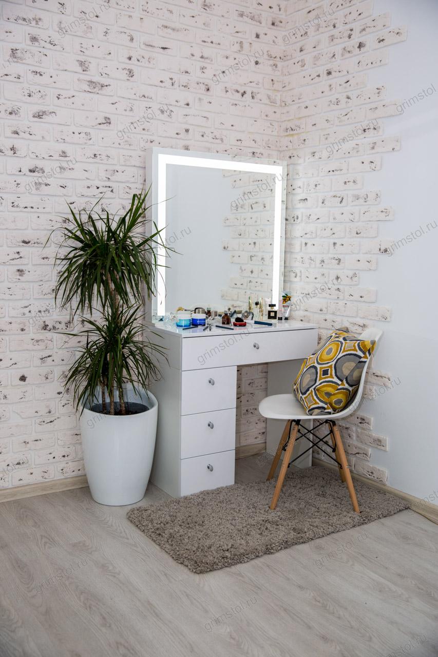 Гримерный столик 2.3Д80 белого цвета с диодным зеркалом