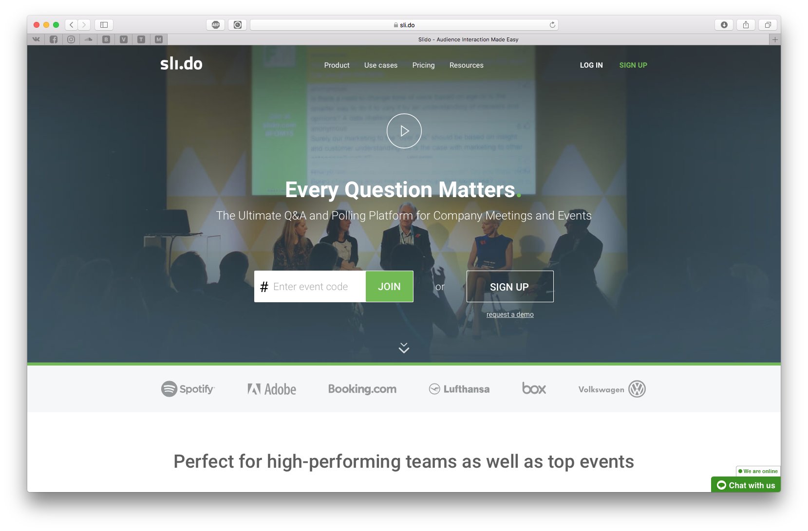 Sli.do provides incredible (almost overwhelming) Q&A and polling tools for company meetings and events