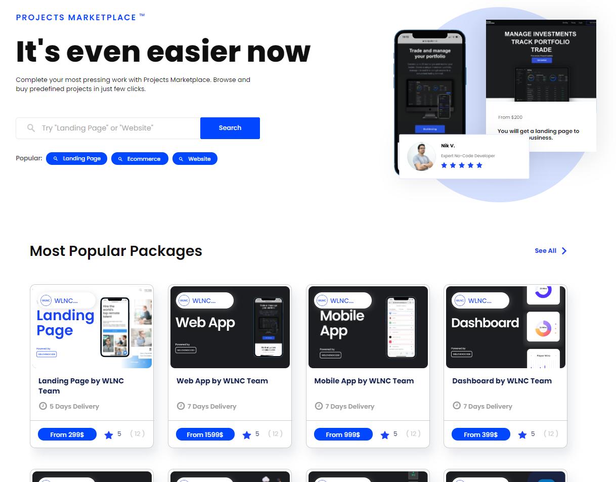 Screenshot of NoCode marketplace