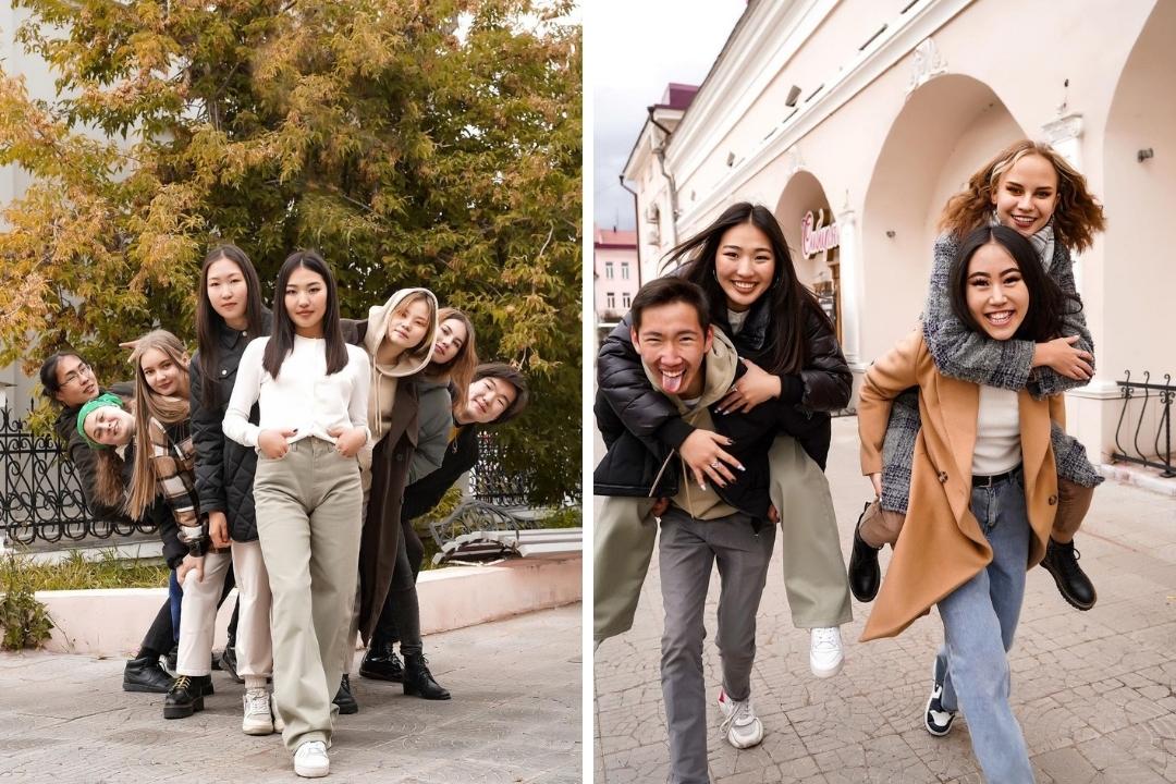 школьная фотосессия в городе осенью