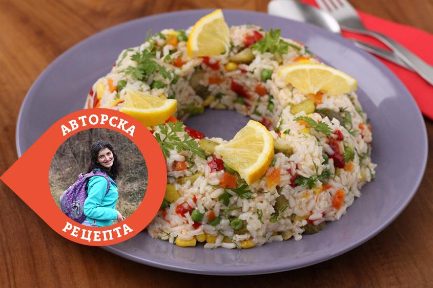"""Празнична салата """"Коледен венец""""с ориз Баланс Krina и зеленчуци"""