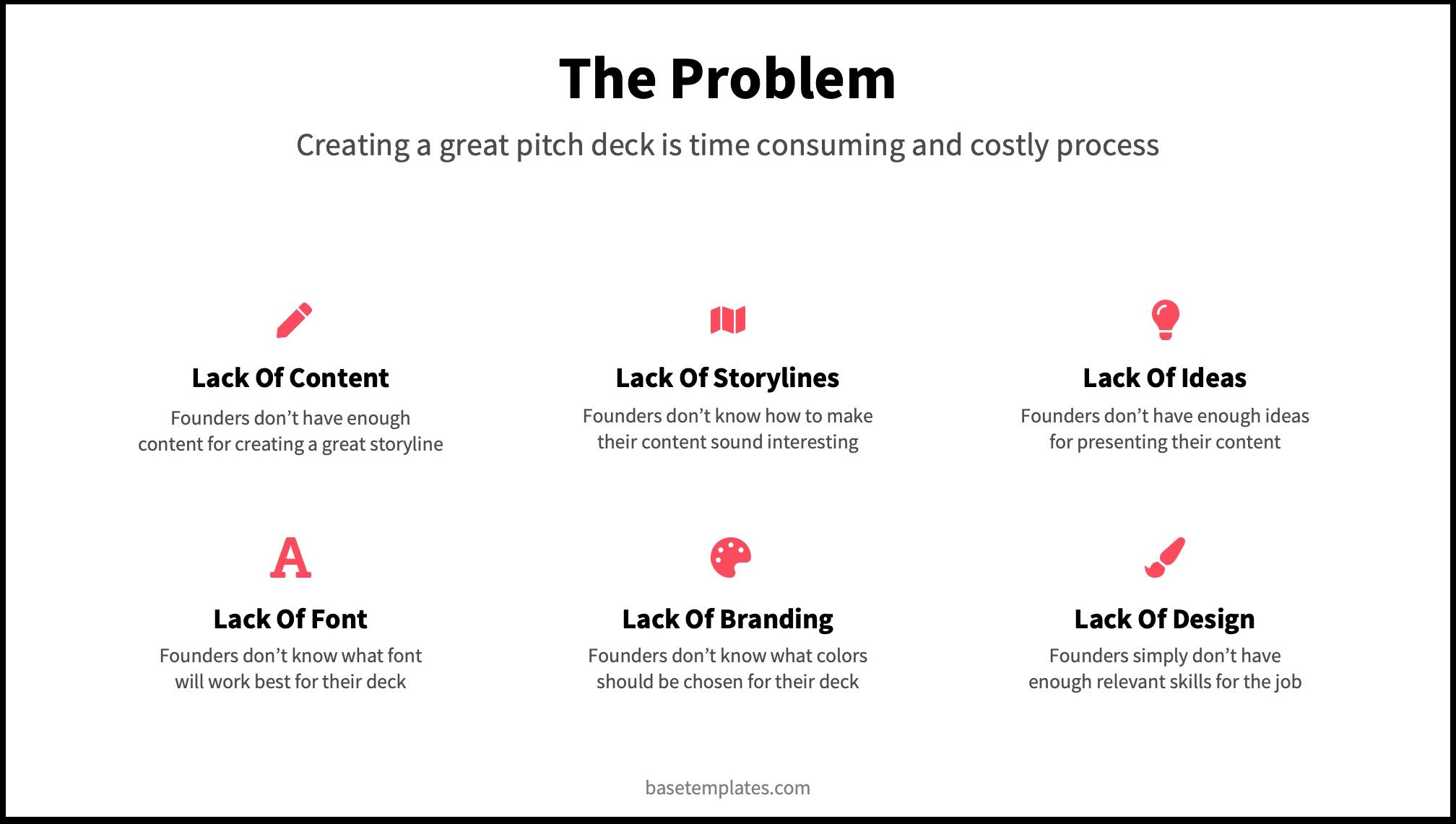 the problem slide pitch deck template reading deck