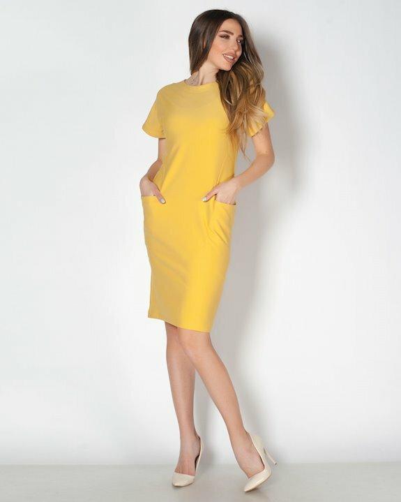 Модерна жълта рокля с къс ръкав и джобове за пролет, лято и ранна есен 2021 от Ефреа.