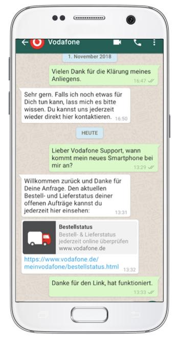 Чат-бот Vodafone в WhatsApp