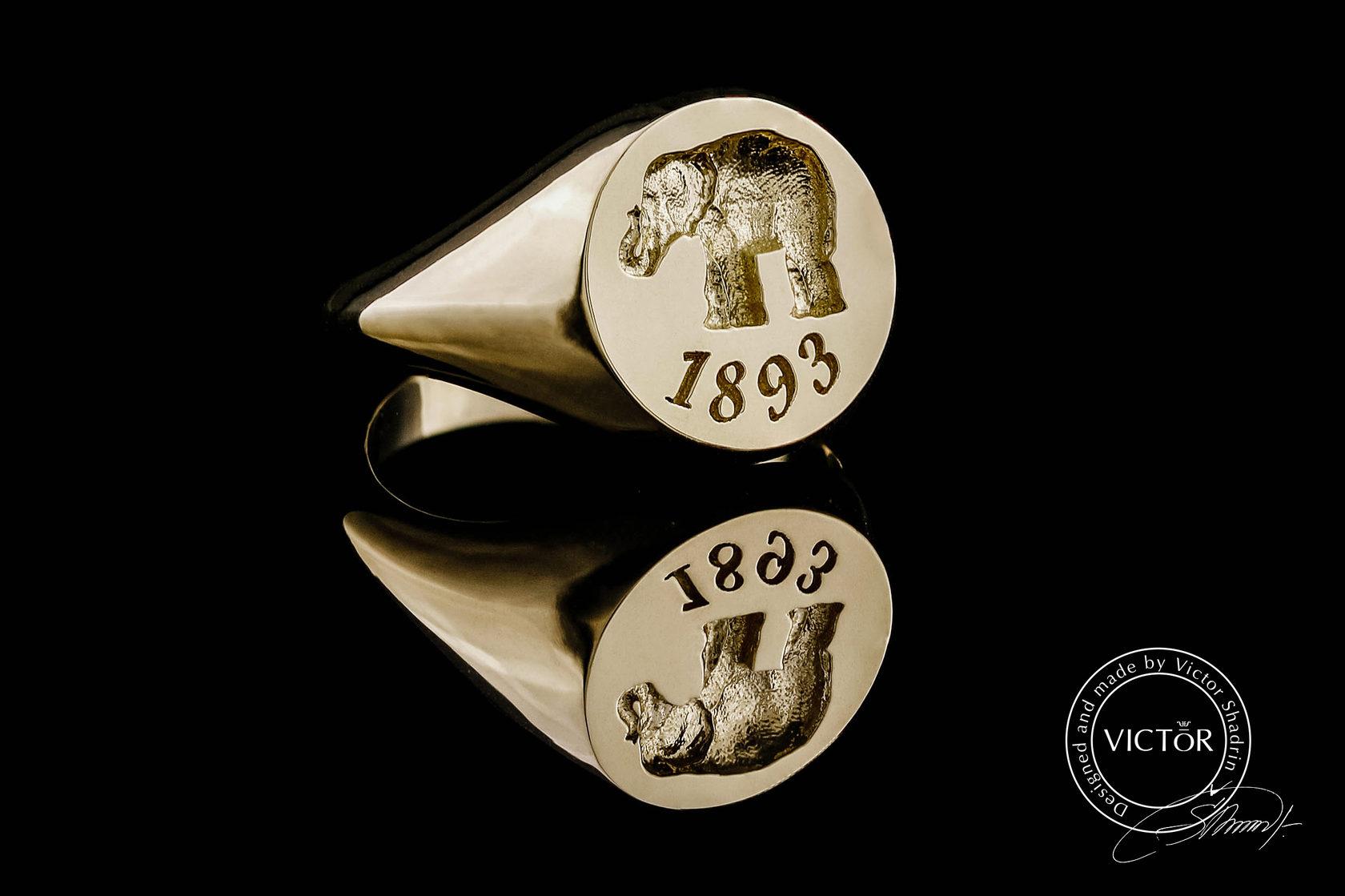Золотое мужское кольцо печатка с гравировкой на заказ
