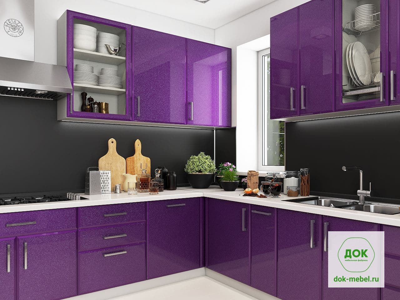 Кухня из пленки мдф черничного цвета фото