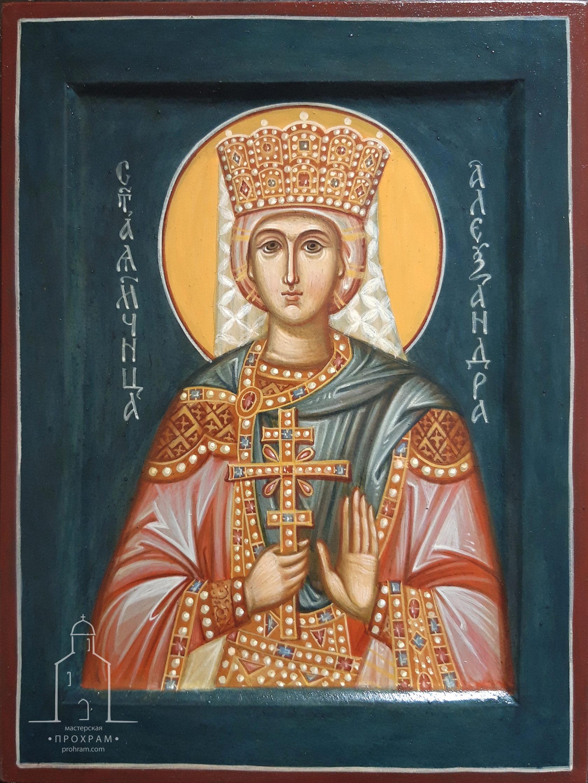 icon paintihg, hand painted icon of St. Alexandra of Rome, egg tempera