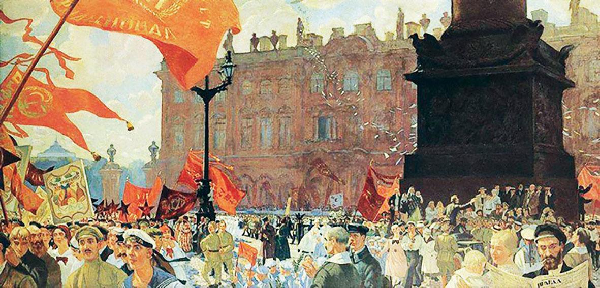 Картина Бориса Кустодиева «Первомайская демонстрация на площади Урицкого»