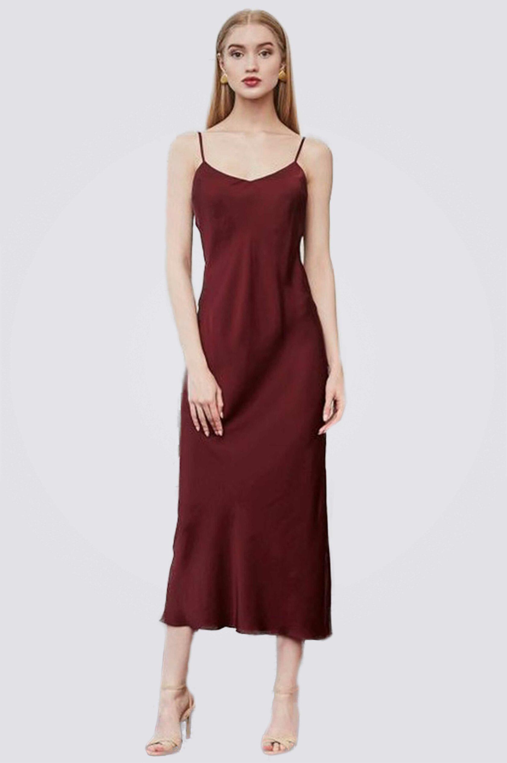 Платье комбинация миди ES.design бордовое EGOStyle
