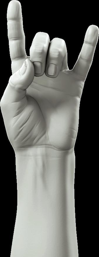 Hand met 'let's rock' gebaar