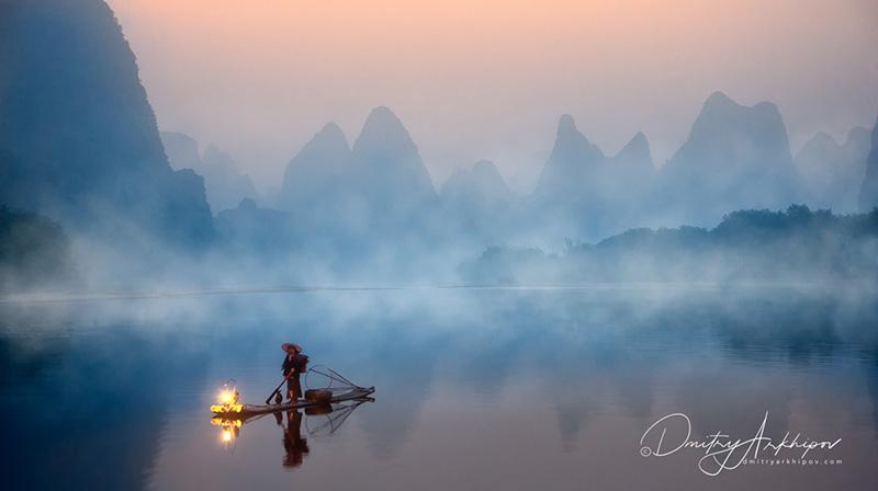 Река Ли, рыбак с бакланами, фототур по Китаю