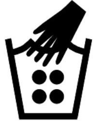 Знак за пране на ръка с гореща вода до 60 градуса