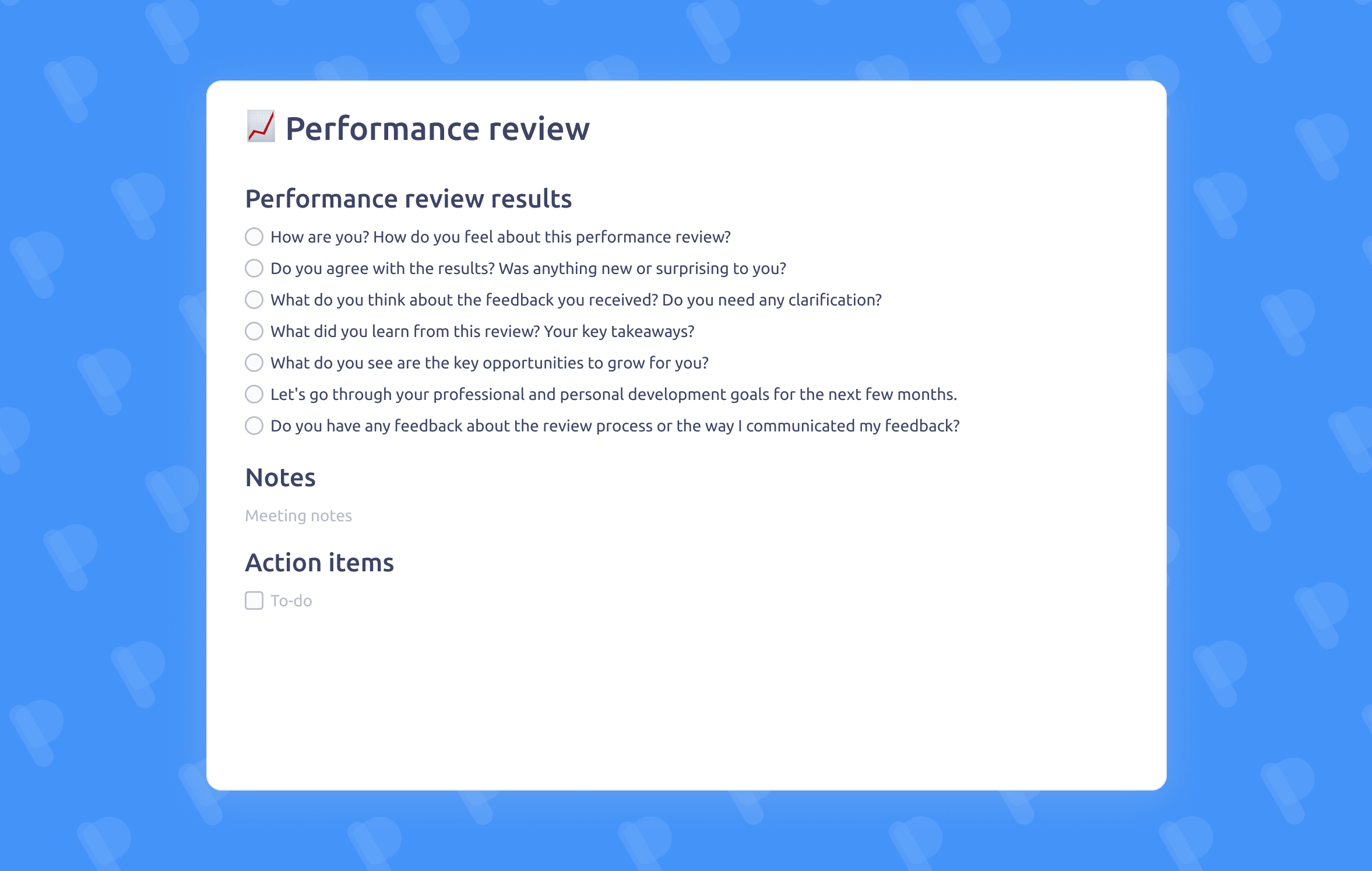 Performance review meeting template
