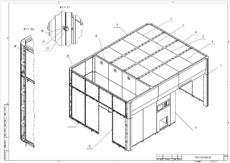 Заказчик корпуса лазерного комплекса получил полный комплект чертежей — всё по стандартам ЕСКД