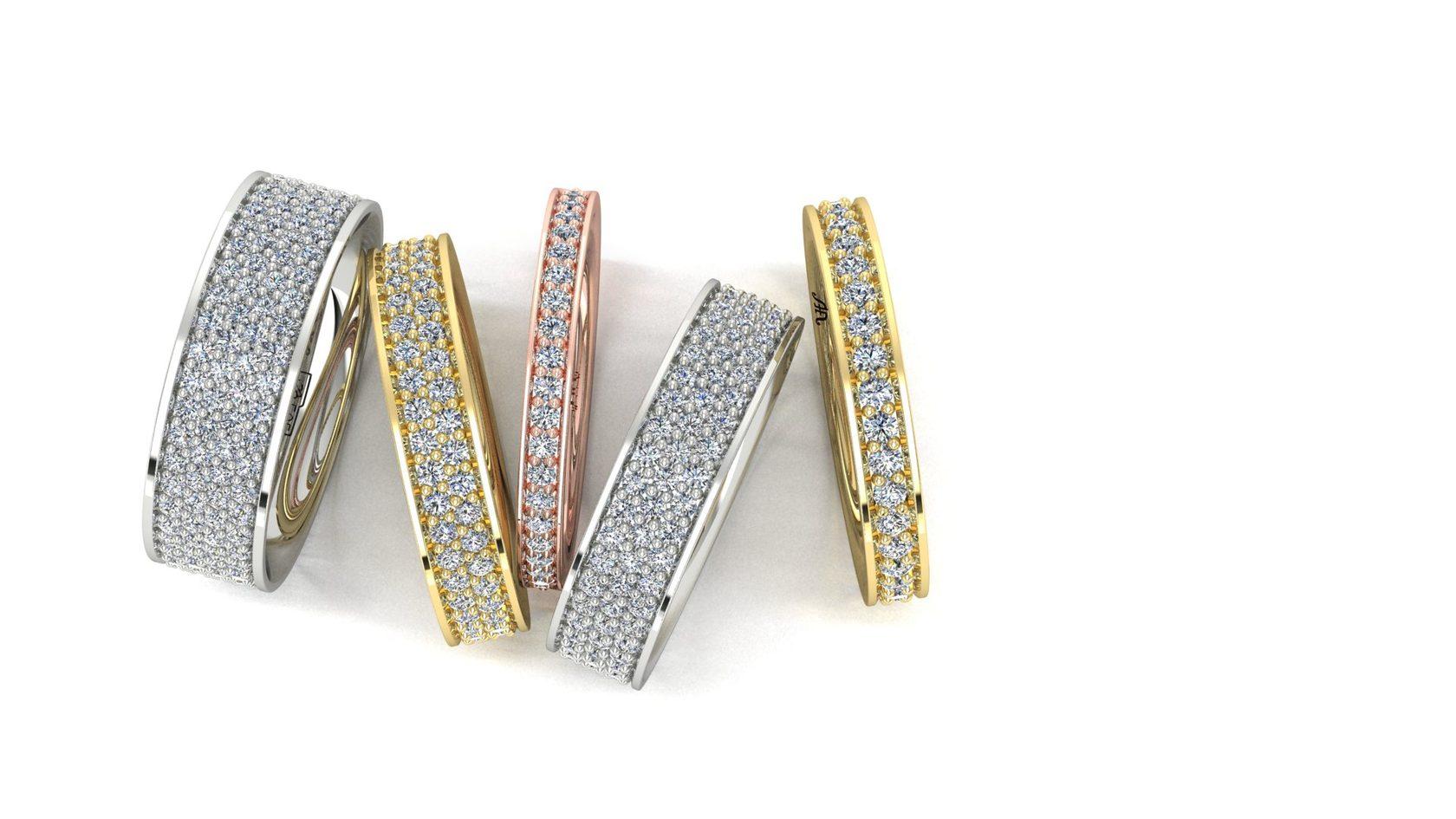 Купить бриллиантовое кольцо, бриллиантовая дорожка из золота