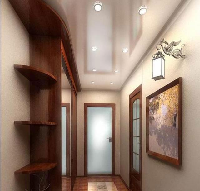 последнее натяжной потолок в узкой прихожей дизайн фото твой