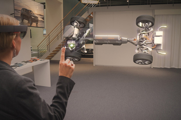 A user interacting with a drivetrain as part of Volvo's work with Microsoft.