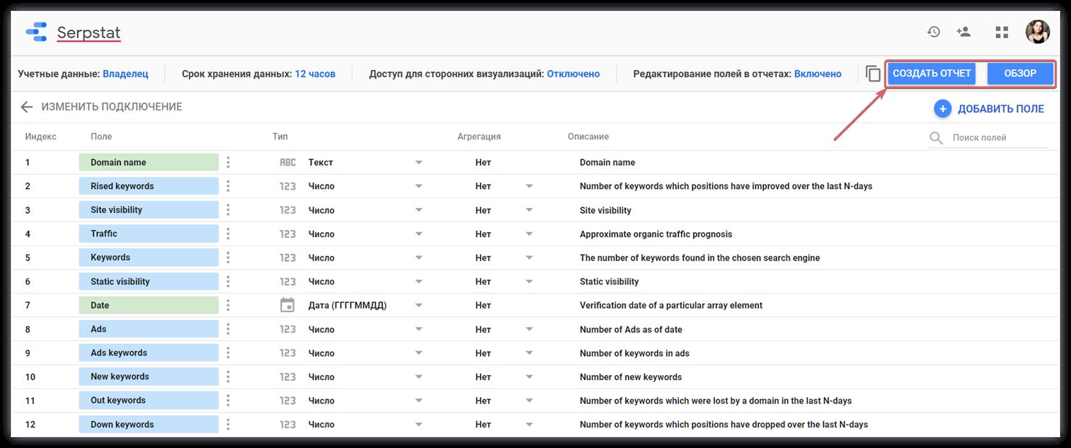 Установите коннектор Serpstat с Google Data Studio в пару кликов 16261788503839