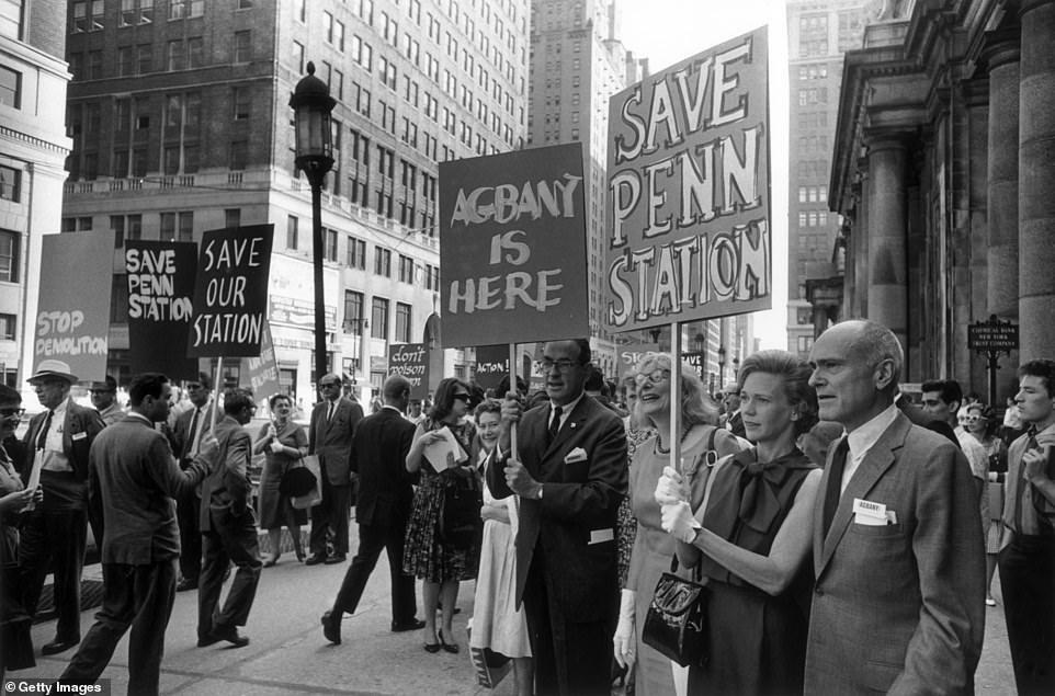 Протесты против сноса Punnsylvaniya Station в Нью-Йорке