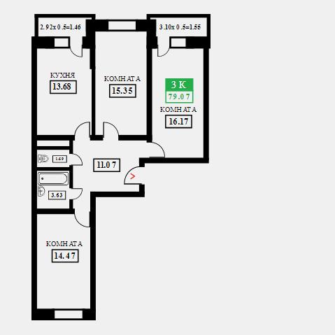 жк поколение купить 3-х комнатную квартиру 79,07 кв.м