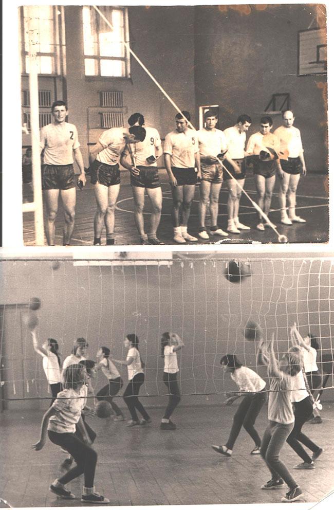 70-е года. Тренировка по волейболу
